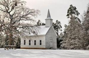 Arkansas country church in winter